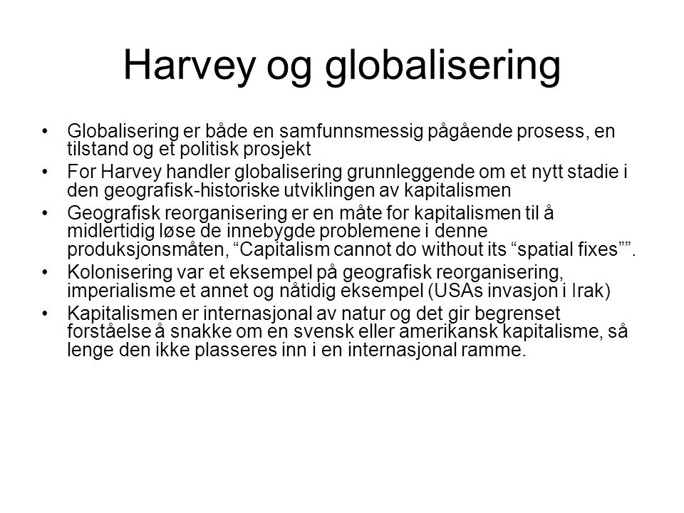Harvey og globalisering