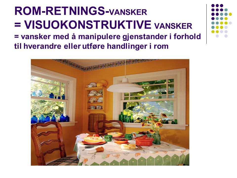 ROM-RETNINGS-VANSKER = VISUOKONSTRUKTIVE VANSKER = vansker med å manipulere gjenstander i forhold til hverandre eller utføre handlinger i rom