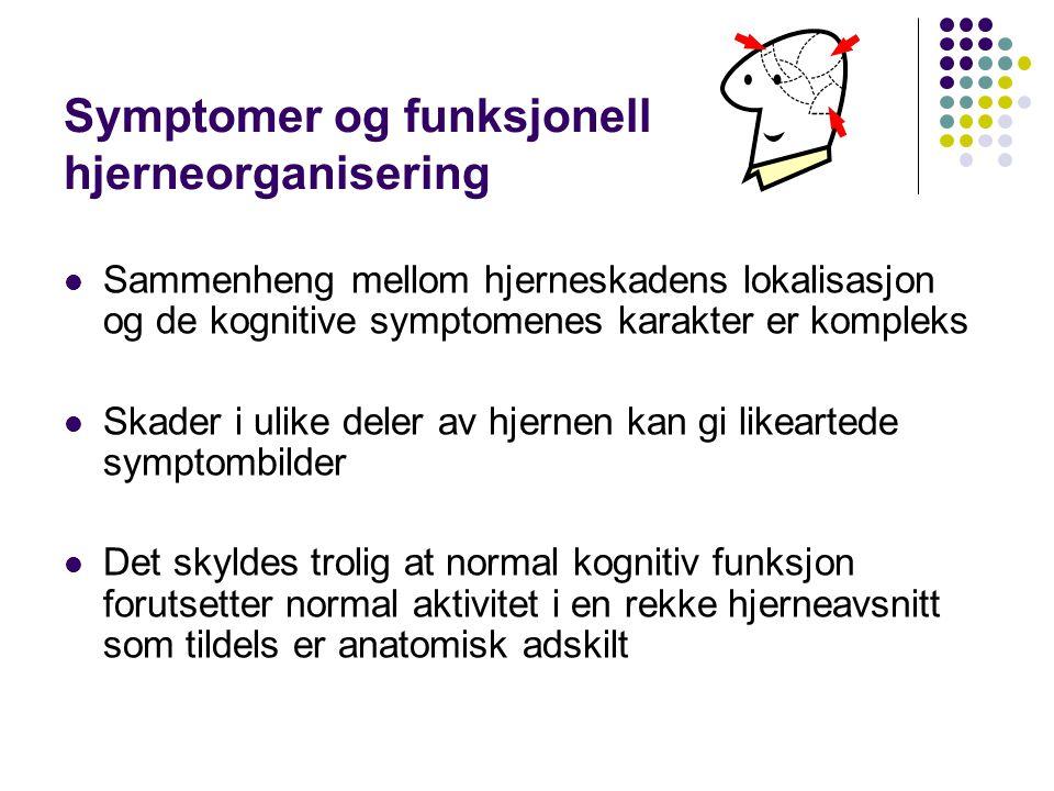 Symptomer og funksjonell hjerneorganisering