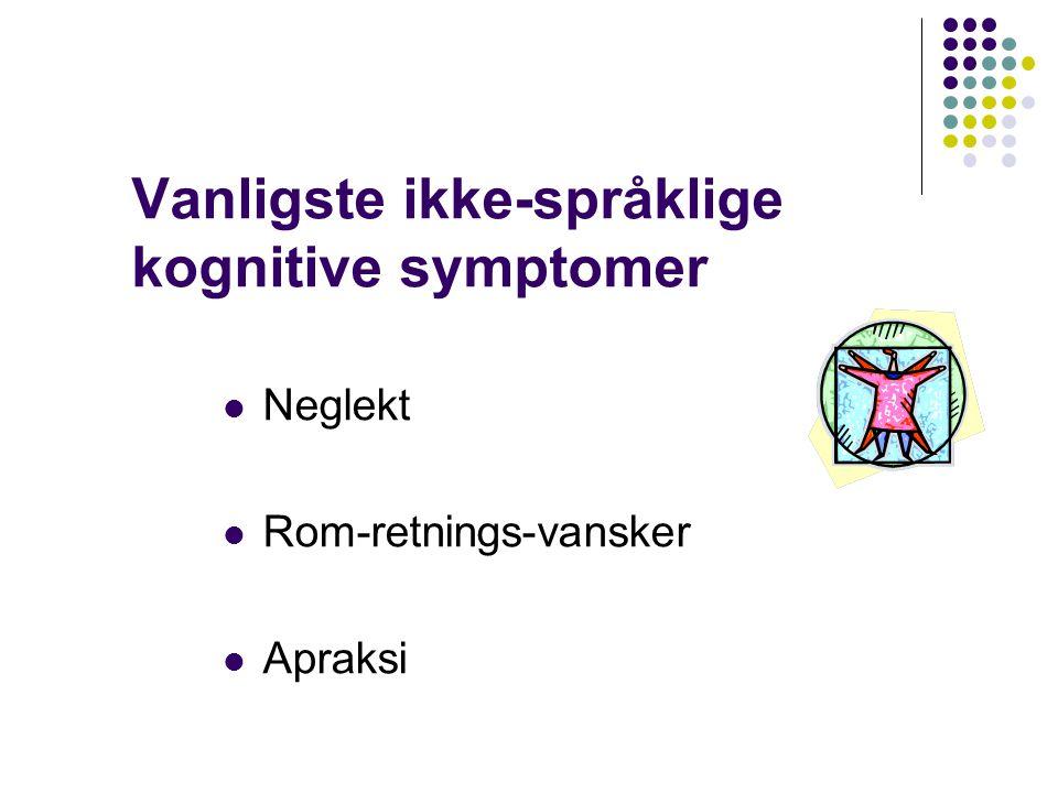 Vanligste ikke-språklige kognitive symptomer