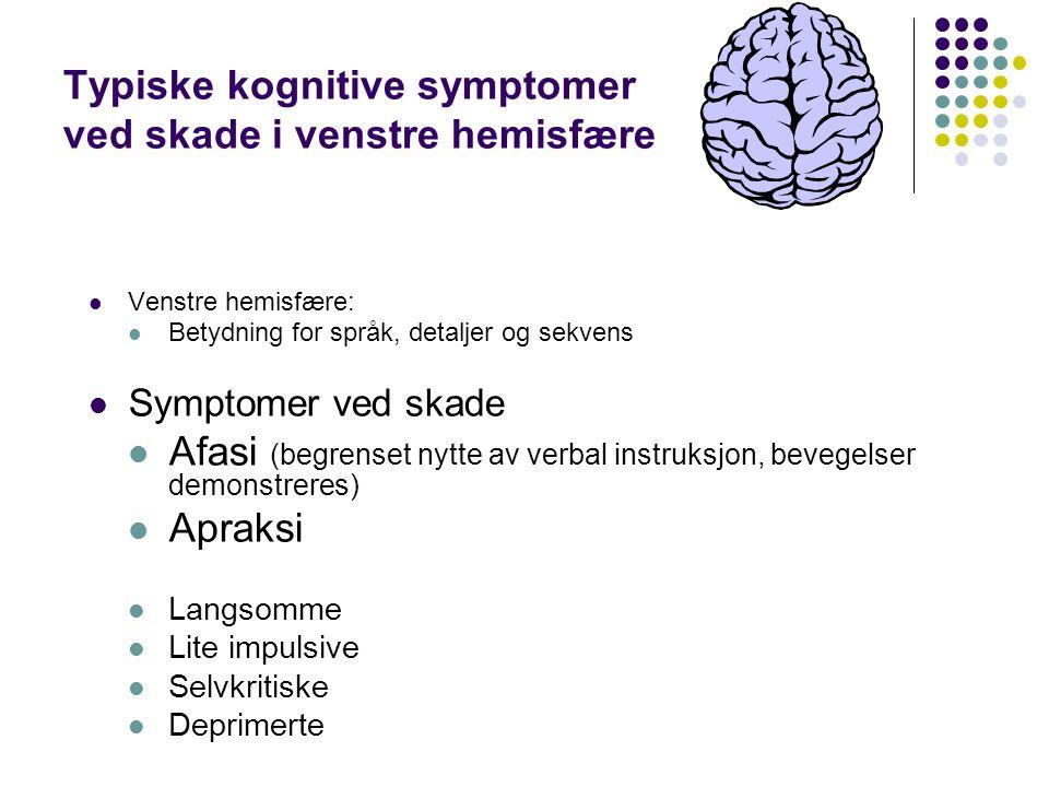 Typiske kognitive symptomer ved skade i venstre hemisfære