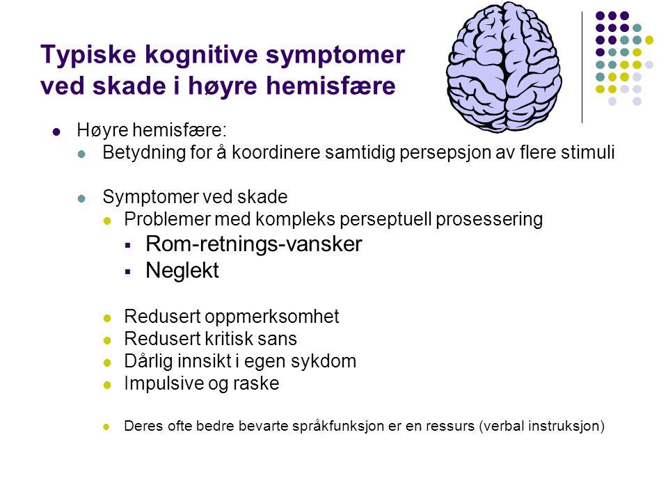 Typiske kognitive symptomer ved skade i høyre hemisfære