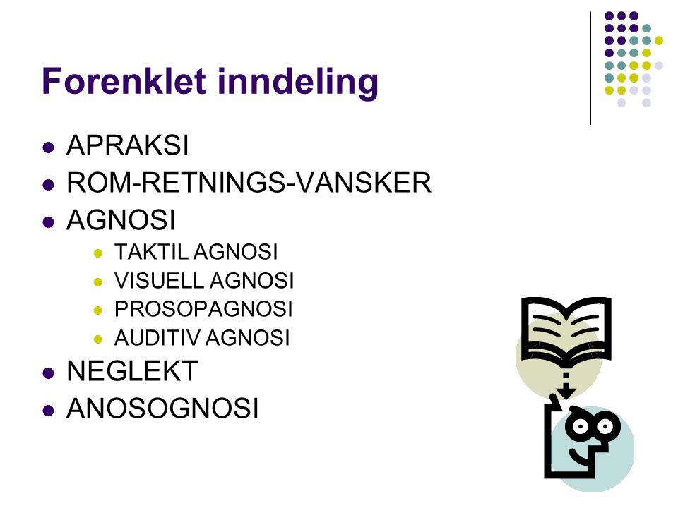 Forenklet inndeling APRAKSI ROM-RETNINGS-VANSKER AGNOSI NEGLEKT