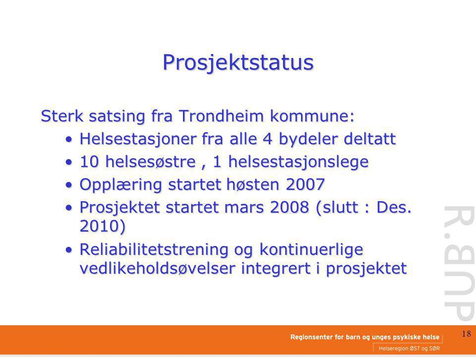 Prosjektstatus Sterk satsing fra Trondheim kommune: