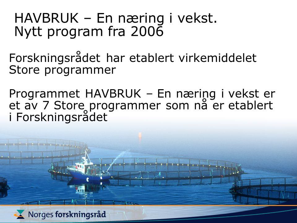 HAVBRUK – En næring i vekst. Nytt program fra 2006