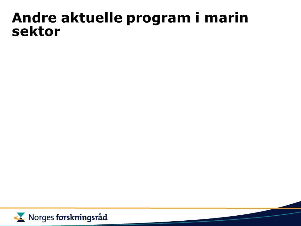 Andre aktuelle program i marin sektor