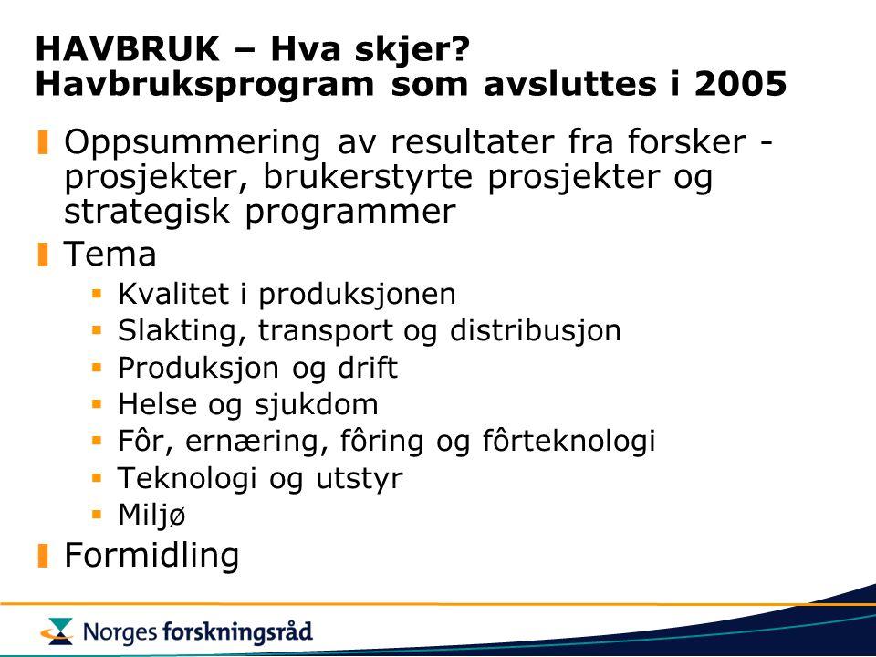 HAVBRUK – Hva skjer Havbruksprogram som avsluttes i 2005