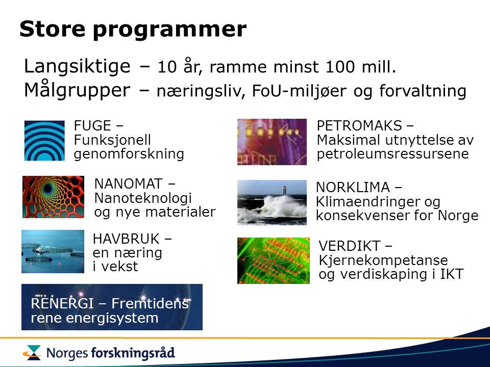 Store programmer Langsiktige – 10 år, ramme minst 100 mill.