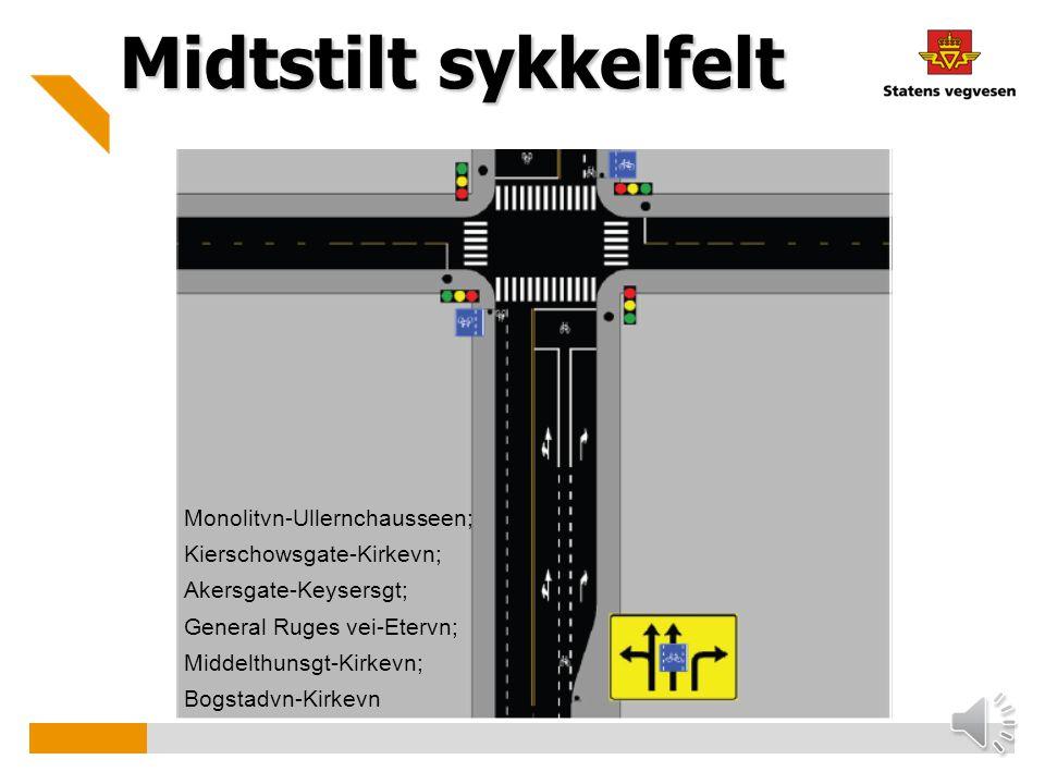 Midtstilt sykkelfelt Monolitvn-Ullernchausseen;