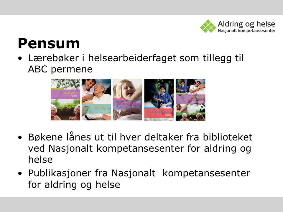 Pensum Lærebøker i helsearbeiderfaget som tillegg til ABC permene