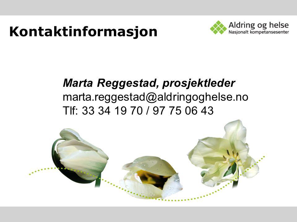 Kontaktinformasjon Marta Reggestad, prosjektleder