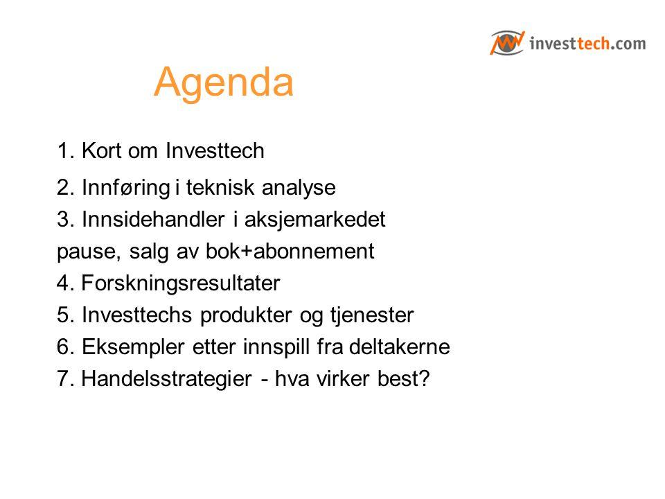Agenda 1. Kort om Investtech 2. Innføring i teknisk analyse