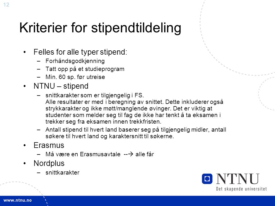 Kriterier for stipendtildeling