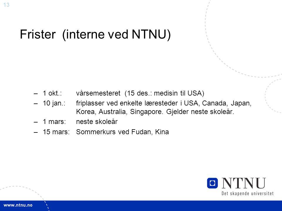 Frister (interne ved NTNU)