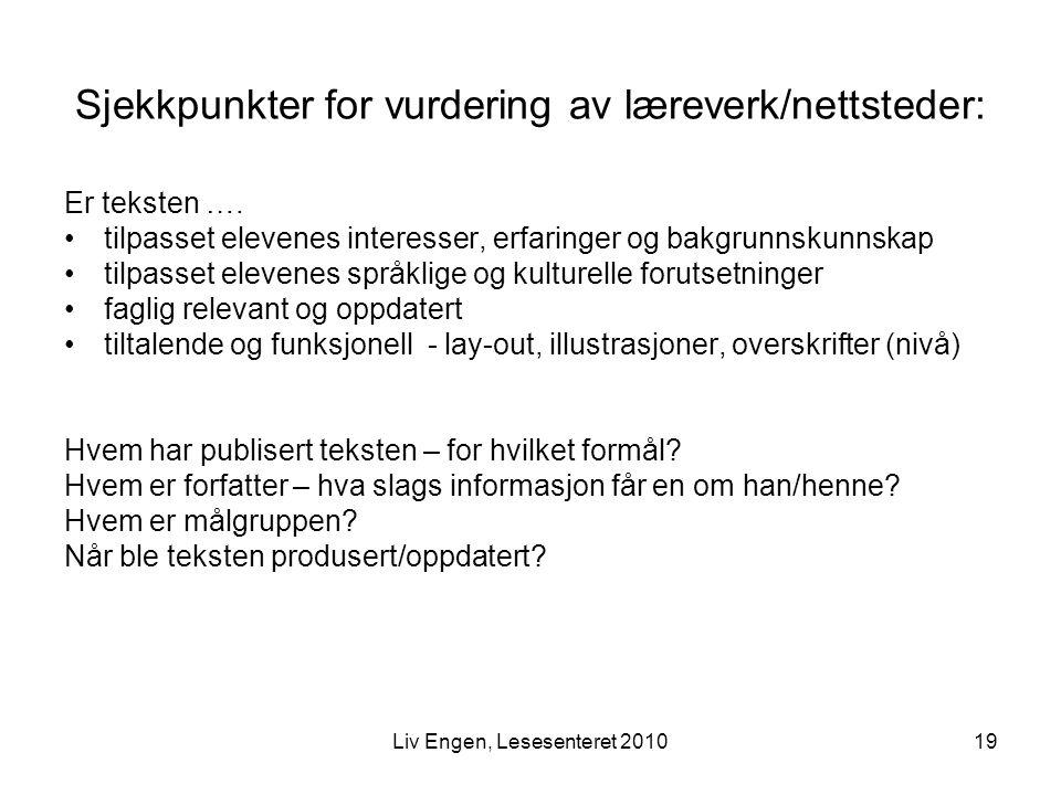 Sjekkpunkter for vurdering av læreverk/nettsteder: