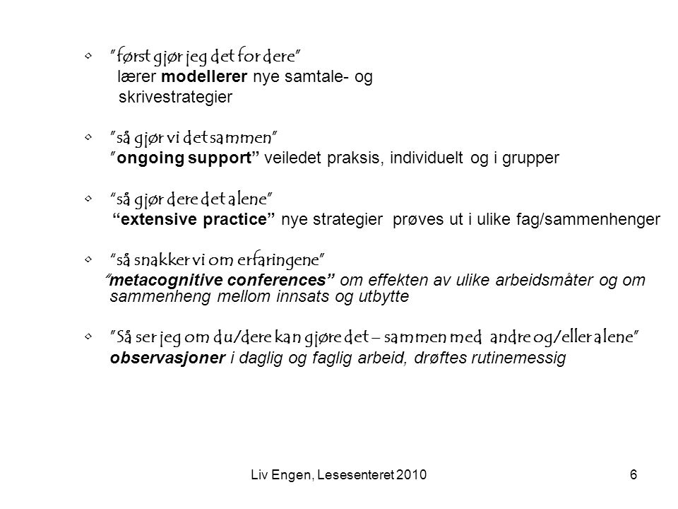 Liv Engen, Lesesenteret 2010