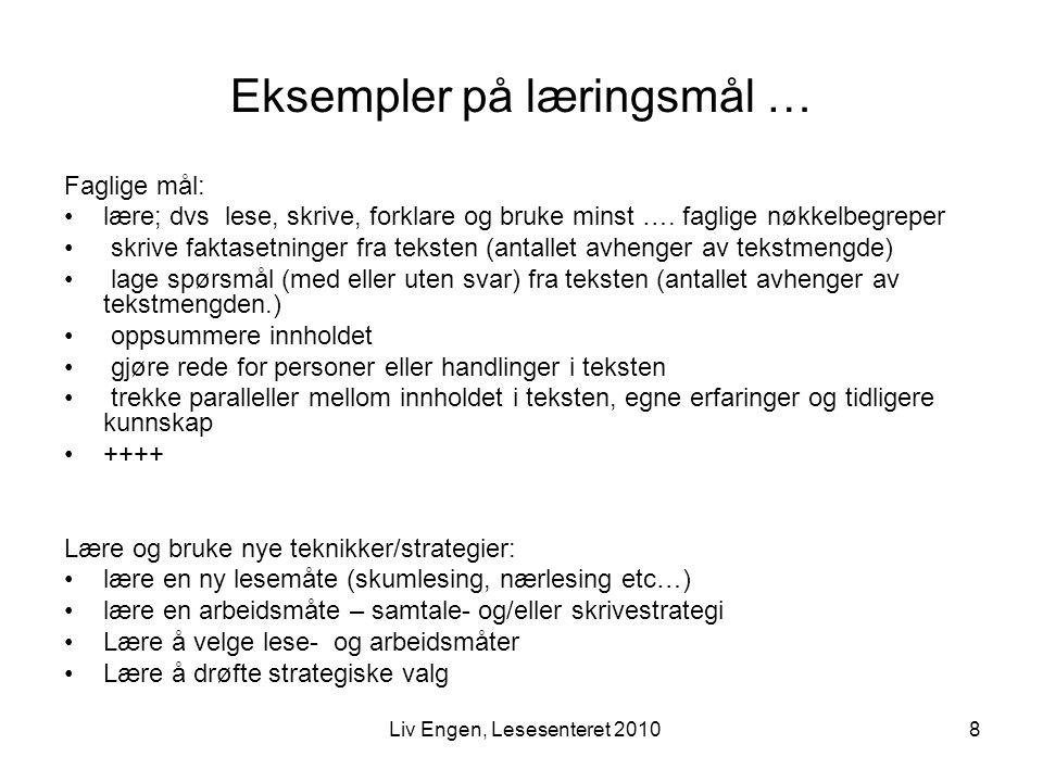 Eksempler på læringsmål …