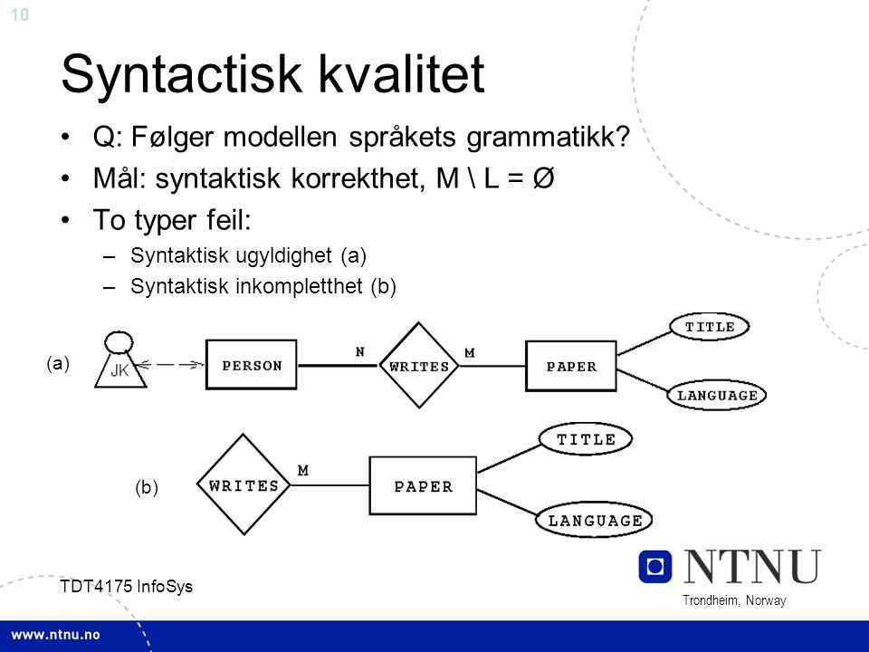 Syntactisk kvalitet Q: Følger modellen språkets grammatikk