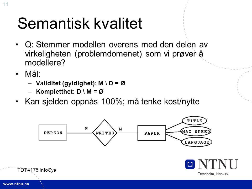 Semantisk kvalitet Q: Stemmer modellen overens med den delen av virkeligheten (problemdomenet) som vi prøver å modellere