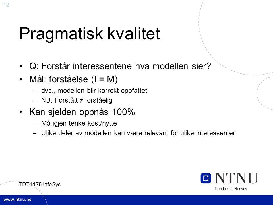 Pragmatisk kvalitet Q: Forstår interessentene hva modellen sier