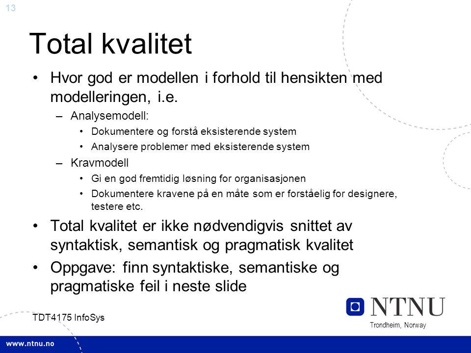 Total kvalitet Hvor god er modellen i forhold til hensikten med modelleringen, i.e. Analysemodell: