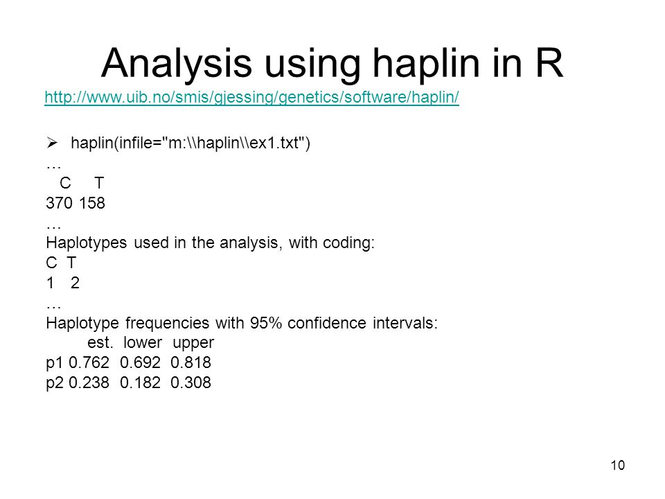 Analysis using haplin in R