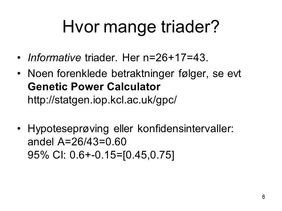 Hvor mange triader Informative triader. Her n=26+17=43.