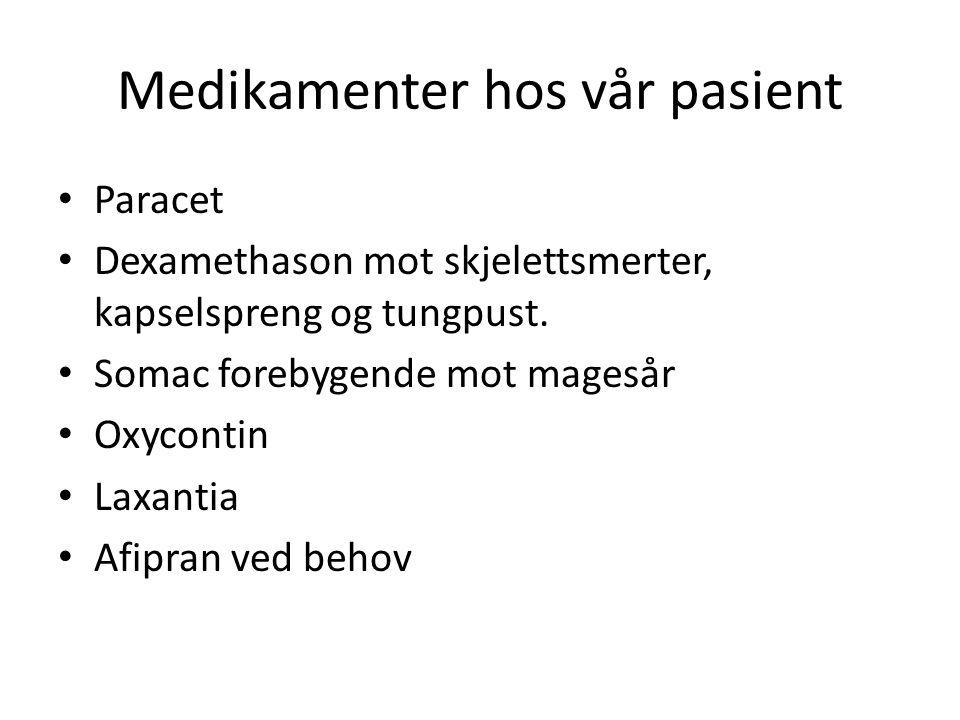 Medikamenter hos vår pasient