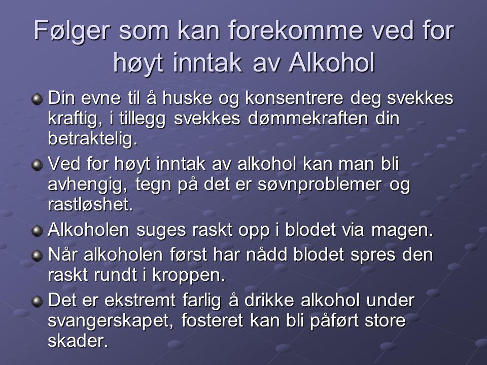 Følger som kan forekomme ved for høyt inntak av Alkohol