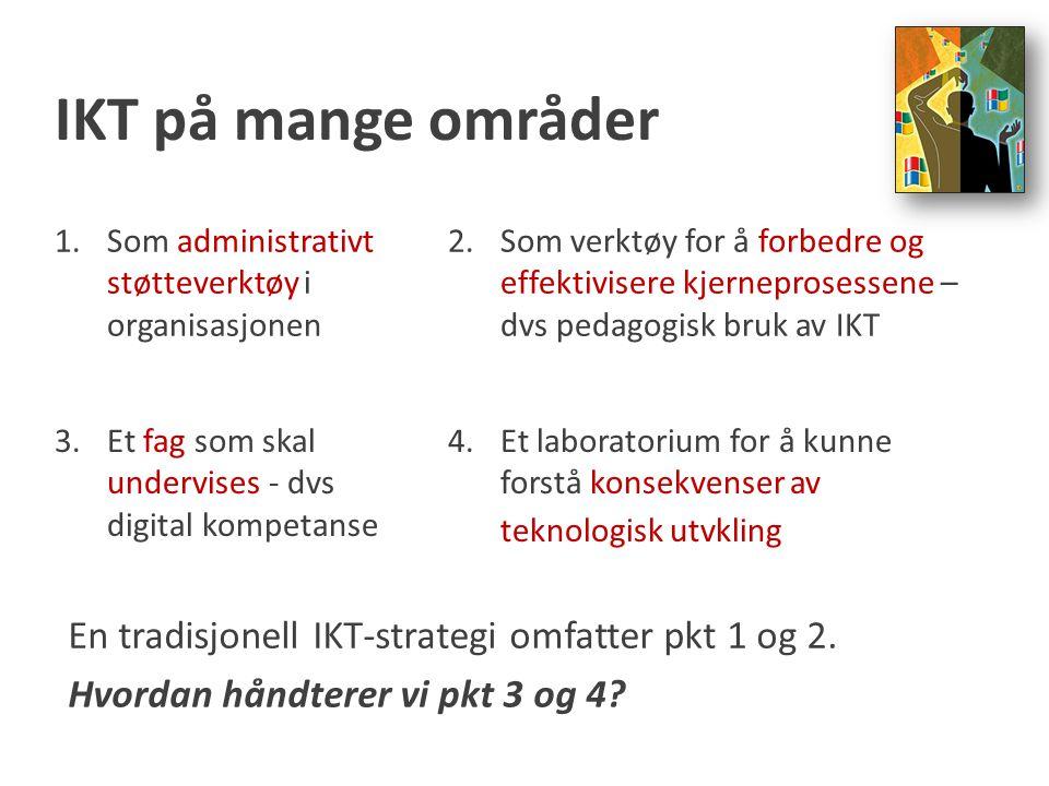 IKT på mange områder En tradisjonell IKT-strategi omfatter pkt 1 og 2.