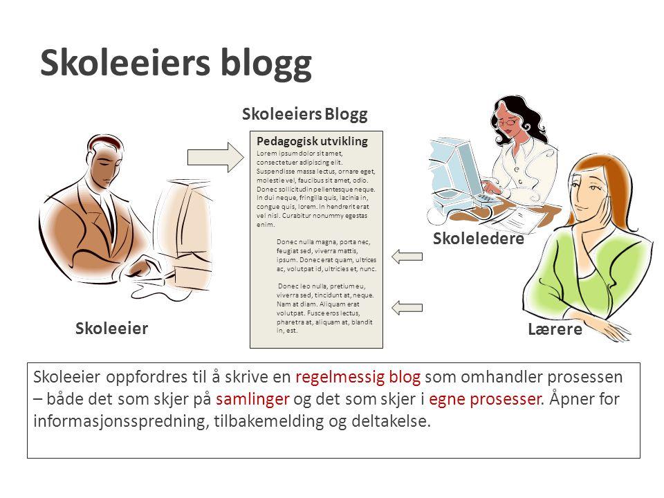 Skoleeiers blogg Skoleeiers Blogg Skoleledere Skoleeier Lærere