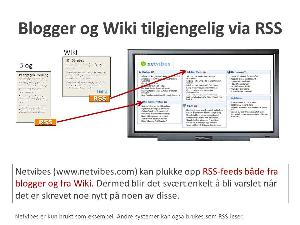 Blogger og Wiki tilgjengelig via RSS
