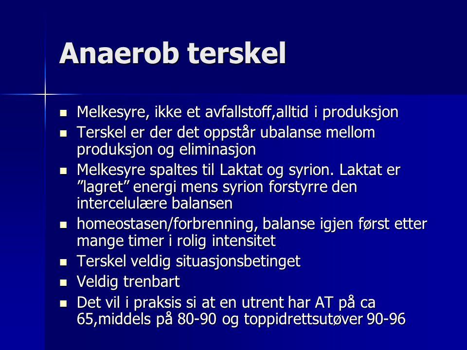 Anaerob terskel Melkesyre, ikke et avfallstoff,alltid i produksjon