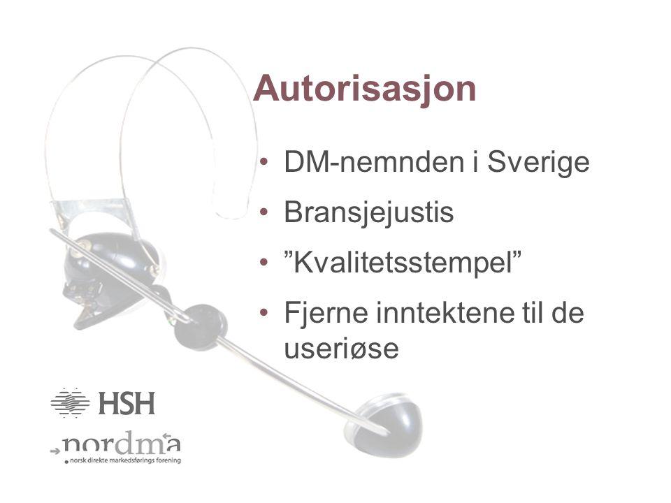 Autorisasjon DM-nemnden i Sverige Bransjejustis Kvalitetsstempel