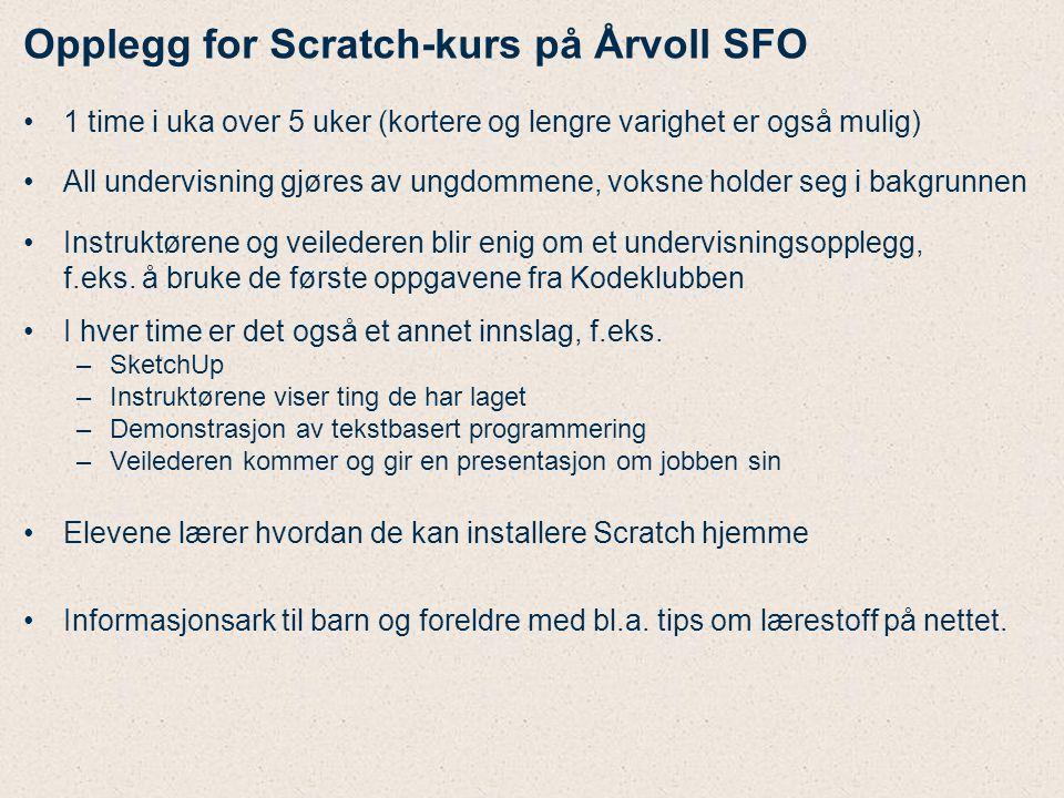 Opplegg for Scratch-kurs på Årvoll SFO