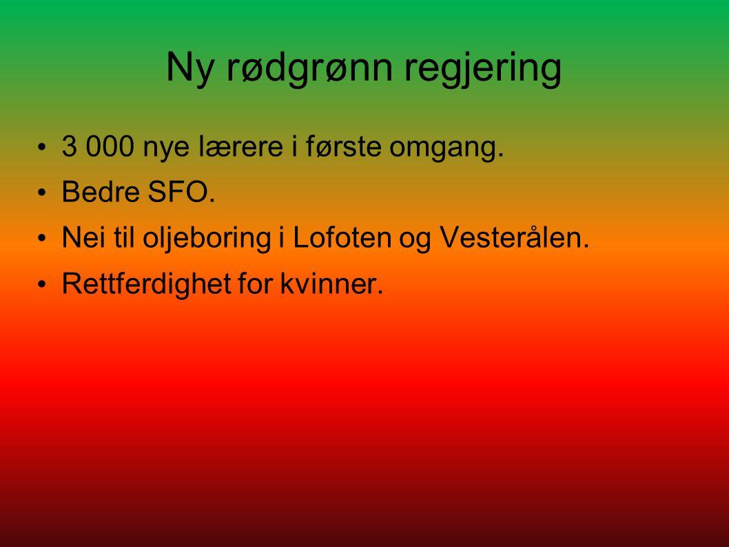 Ny rødgrønn regjering 3 000 nye lærere i første omgang. Bedre SFO.