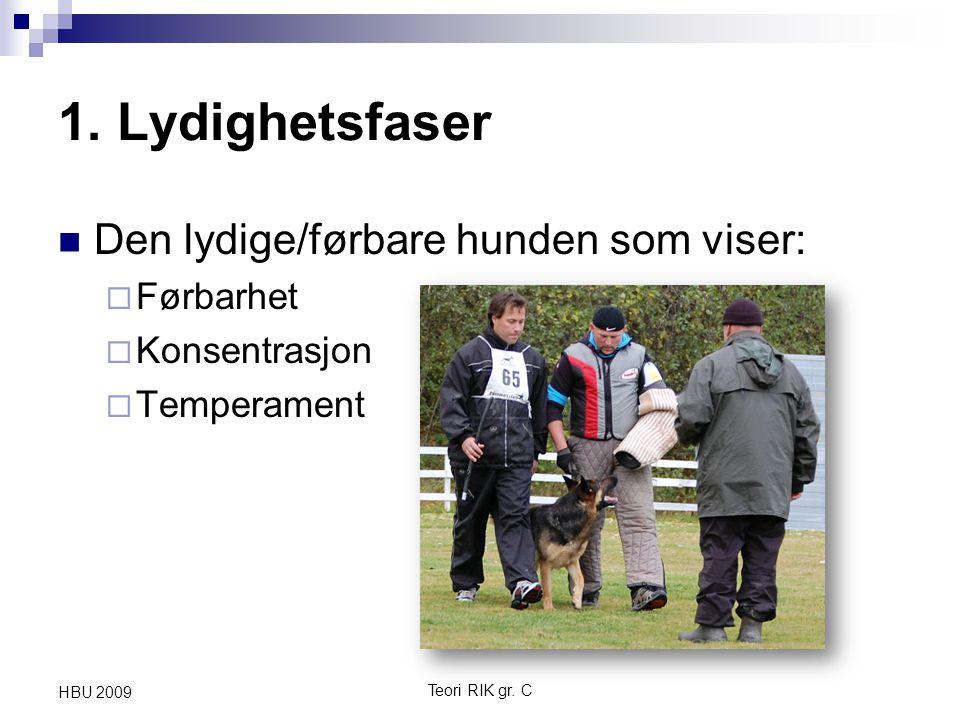 1. Lydighetsfaser Den lydige/førbare hunden som viser: Førbarhet