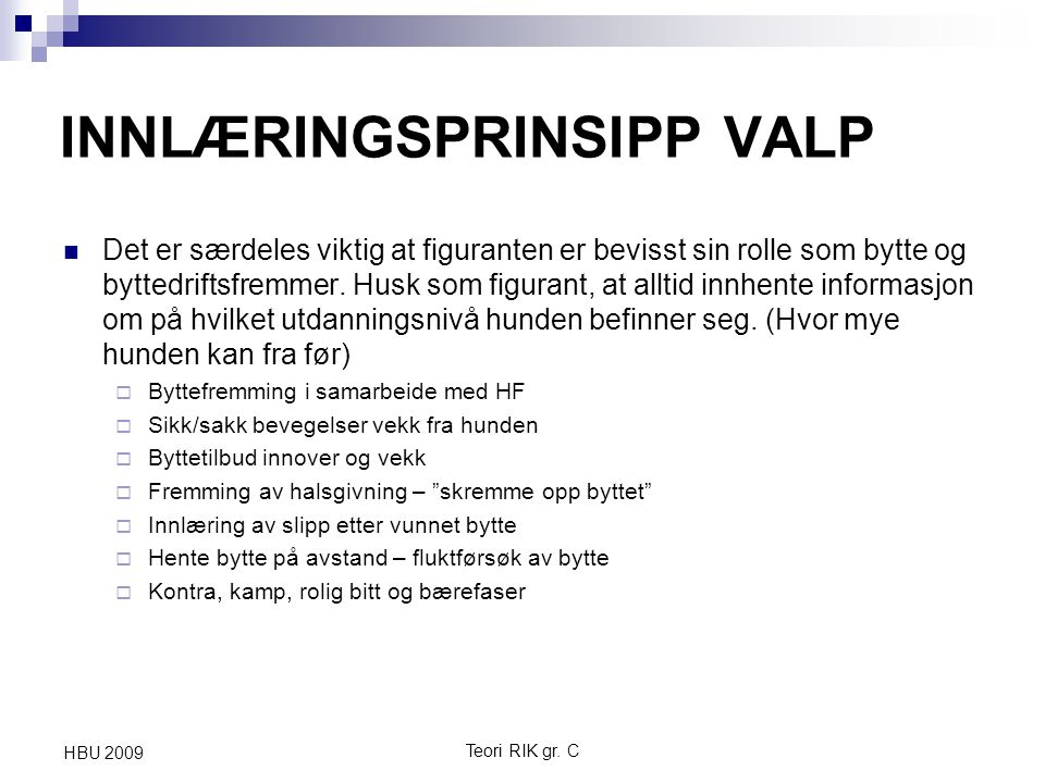 INNLÆRINGSPRINSIPP VALP