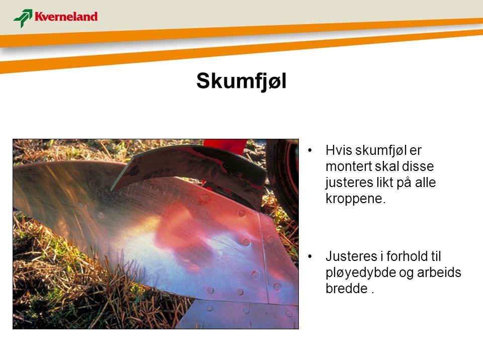 Skumfjøl Hvis skumfjøl er montert skal disse justeres likt på alle kroppene.