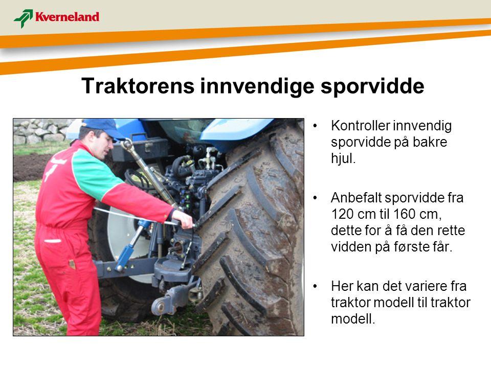 Traktorens innvendige sporvidde