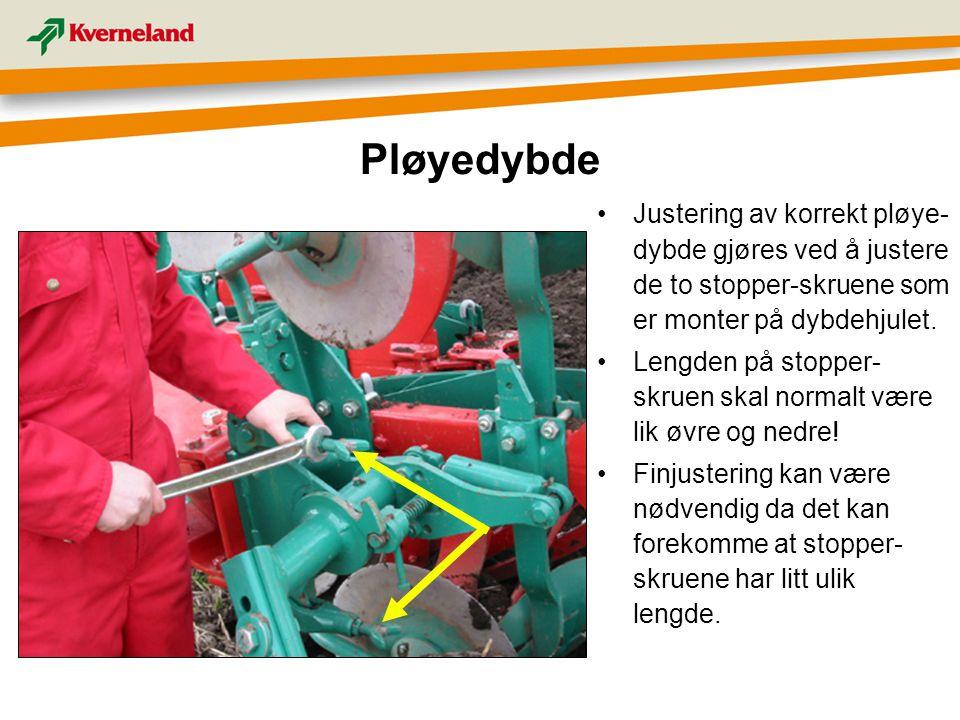 Pløyedybde Justering av korrekt pløye-dybde gjøres ved å justere de to stopper-skruene som er monter på dybdehjulet.