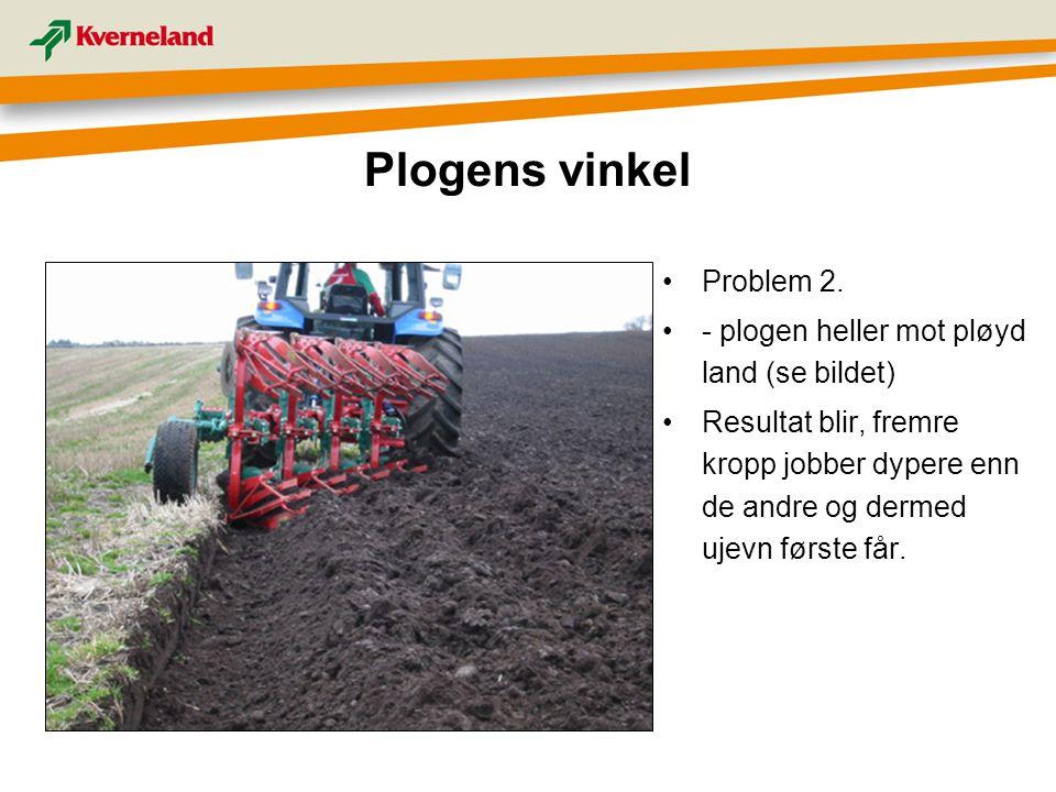 Plogens vinkel Problem 2. - plogen heller mot pløyd land (se bildet)
