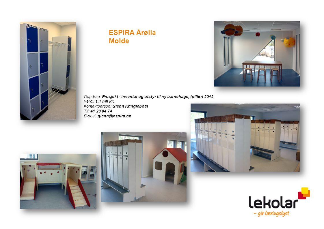 ESPIRA Årølia Molde. Oppdrag: Prosjekt - inventar og utstyr til ny barnehage, fullført 2012. Verdi: 1,1 mil kr.