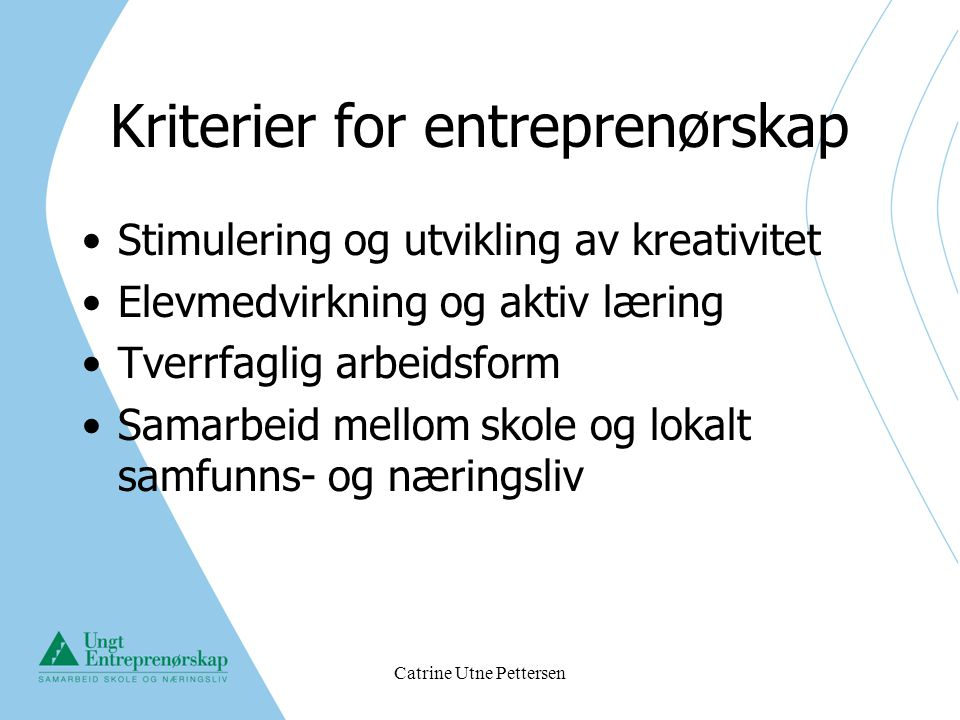 Kriterier for entreprenørskap