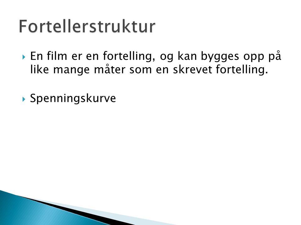 Fortellerstruktur En film er en fortelling, og kan bygges opp på like mange måter som en skrevet fortelling.