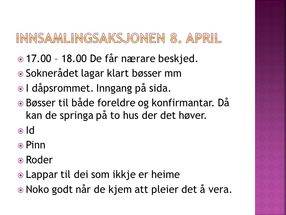 Innsamlingsaksjonen 8. april