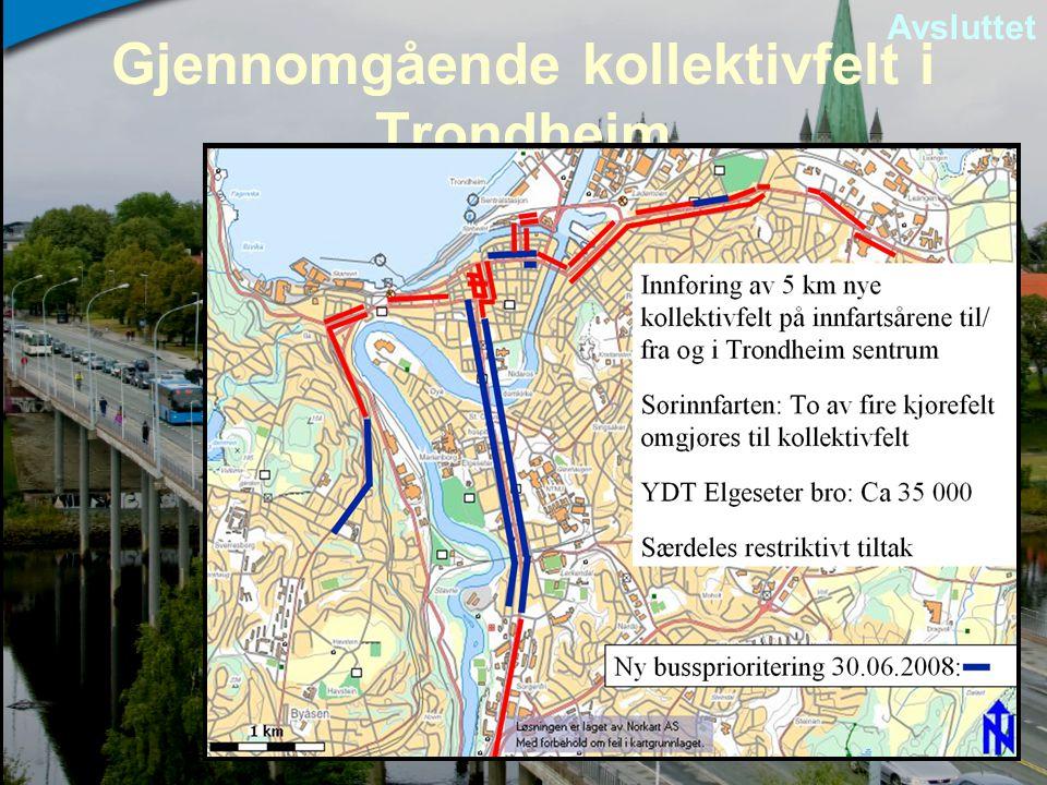 Gjennomgående kollektivfelt i Trondheim