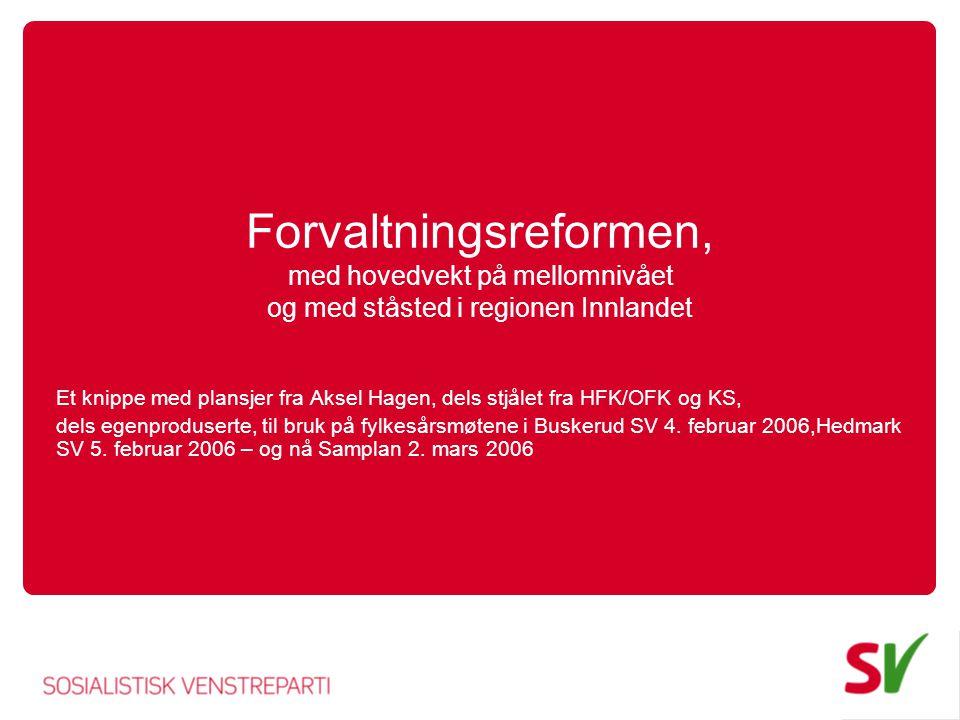 Forvaltningsreformen, med hovedvekt på mellomnivået og med ståsted i regionen Innlandet