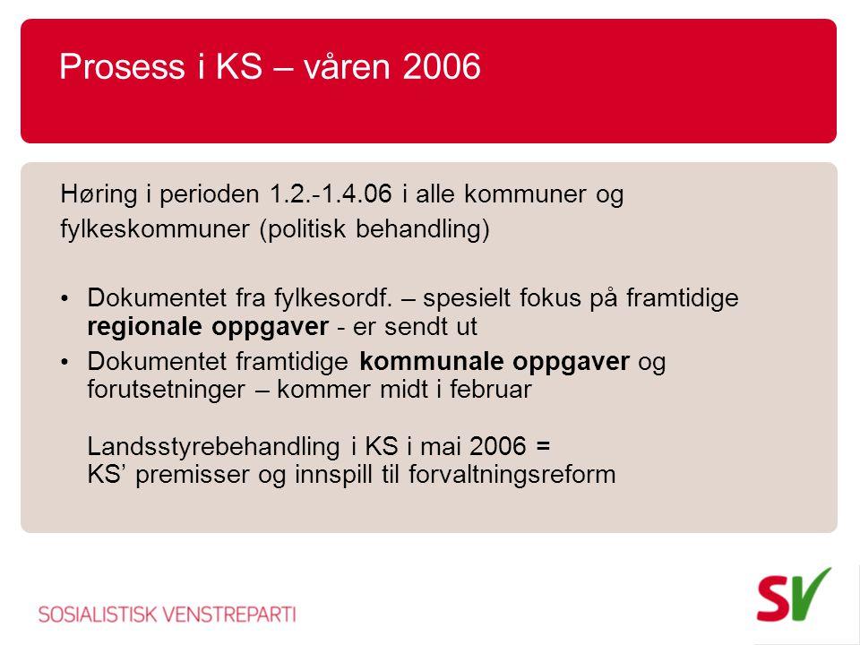 Prosess i KS – våren 2006 Høring i perioden 1.2.-1.4.06 i alle kommuner og. fylkeskommuner (politisk behandling)