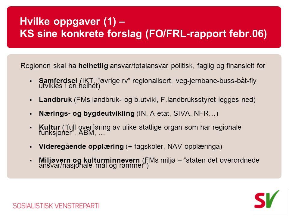 Hvilke oppgaver (1) – KS sine konkrete forslag (FO/FRL-rapport febr